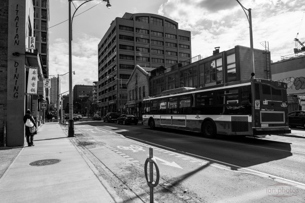 Black and white shot of a bus | ian.photos