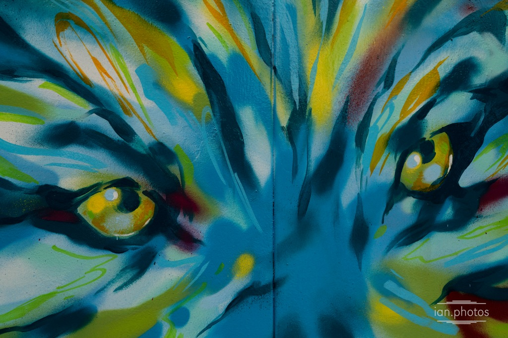 Spraypainted mural of a blue, yellow and green wolf.